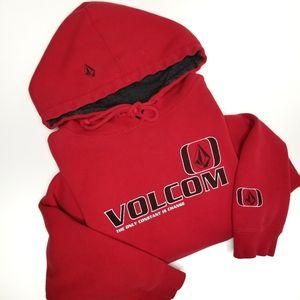 00's Volcom Retro Red Sweater Hoodie Medium